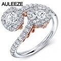 Filigree Design Two-Stone Cushion Halo Lab Grown Diamond Ring 14K Two Tone Gold Moissanites Wedding Rings For Women Jewelry
