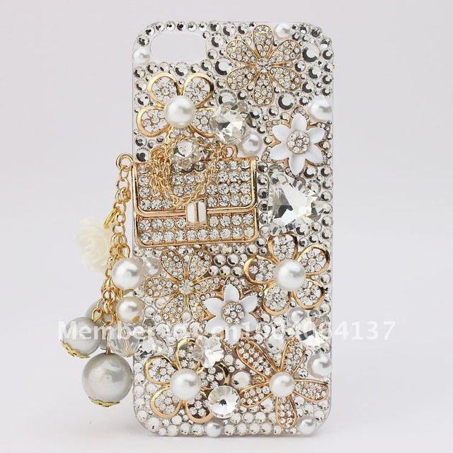 Luxury Diamond Peal HandBag For apple iPhone 5s 5c 5 5g 4 4s 3gs Samsung S4 S3 Note 2 Case 1Piece FreeShipping New Arrival Bling