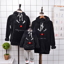 Family Matching Hoodies Outfits Winter Christmas Sweater Cute Deer Children Clothing Kid T-shirt Add Wool Warm Family Clothe L37