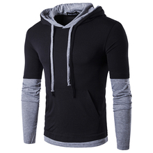 MenS T Shirt Fake two years 2017 Summer Fashion Hooded Sling Long-Sleeved Tees Male New compression T-Shirt Slim Tops
