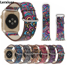 Lerxiuer Leather Strap For apple watch 4 band 44mm 40mm flower print correa iwatch series 3 2 1 42mm/38mm wrist Bracelet belt crested leather strap for apple watch band 42mm 38mm iwatch series 3 2 1 vintage flower print wrist bands bracelet straps belt