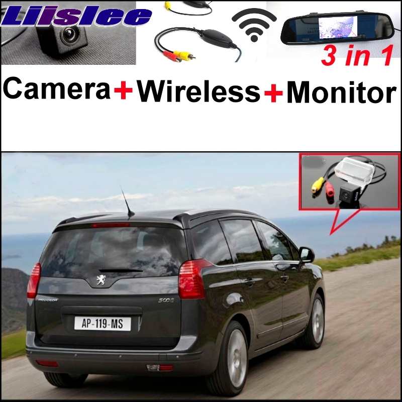 Liislee 3 in1 Special Camera + Wireless Receiver + Mirror Monitor EASY DIY Back Up Parking System For Peugeot 5008 liislee 3 in1 special rear view camera wireless receiver mirror monitor diy back up parking system for peugeot 607 806 807