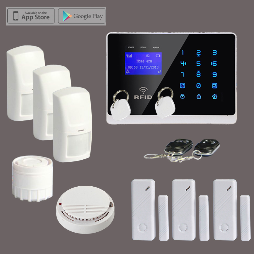 2015 Hot Sell Wireless Touch Keypad RFID GSM Home Alarm System Package + Smoke Detector, Free Shipping fuers wireless smoke fire detector smoke alarm wireless for touch keypad panel wifi gsm home security system no battery