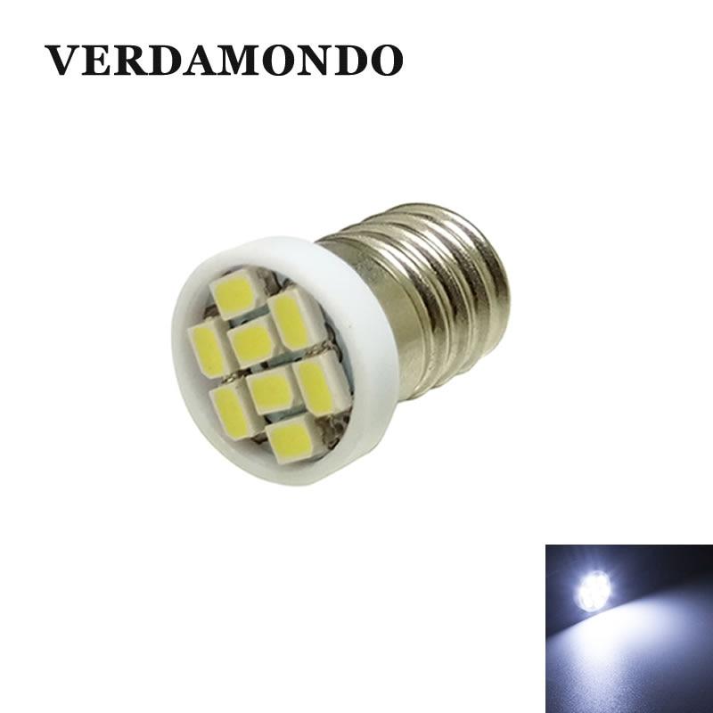 E10 LED 8 SMD 3020 Bulb White Lights DC 12V For DIY Reading License Plate Door Trunk Lamp Interior Lighting