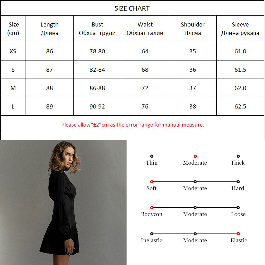 Image 5 - OOTN Lantern Sleeve Black Tunic Shirt Dress Women Long Sleeve Pleated A Line Dress Elegant Fashion Female Mini Party DressesDresses   -