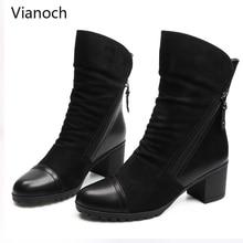 Vianoch Fashion Mid Calf Boots Women Winter Fur Platform Pumps Warm High Heels Shoes Woman Big Size 40 41 wo1808130