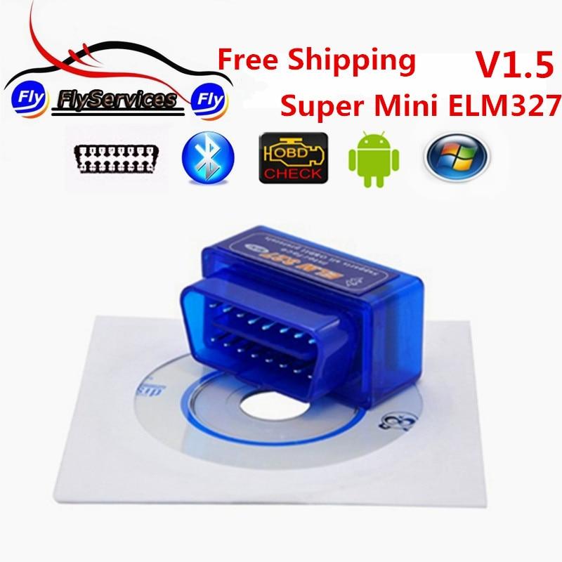 Prix pour Super Mini ELM327 Bluetooth OBD2 V1.5 Elm 327 V 1.5 Android adaptateur De Voiture Scanner OBD 2 Elm-327 OBDII Auto Outil De Diagnostic Scanner