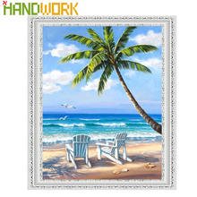 ФОТО handwork diamond embroidery kits diamond mosaic diy diamond painting cross stitch beach & coconut trees home decor scenic