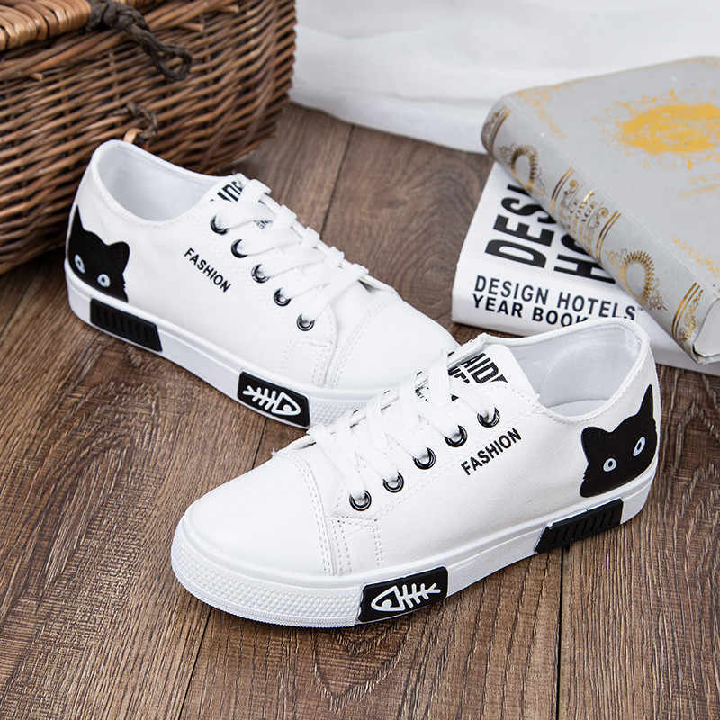 Karikatür Kadın kanvas ayakkabılar Moda Kadın Vulkanize Ayakkabı Yaz kadın ayakkabısı Lace Up rahat düz ayakkabılar Kadın Sneakers