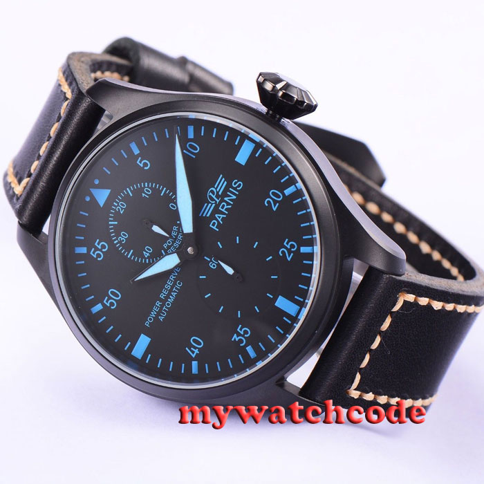 47mm parnis black dial blue marks PVD power reserve automatic mens watch P425 цена