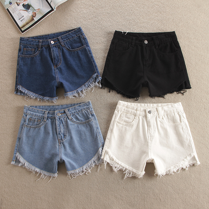 New Loose washed after Denin short Jeans before long fringed trousers retro wear white female summer Women denim shorts Z2179