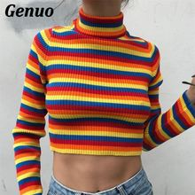 Genuo Knitted Sweaters Women Autumn Color Block Rainbow Striped Crop Tops Knitwear Long Sleeve Winter Pullover Streetwear Outfit long sleeves striped pullover knitwear
