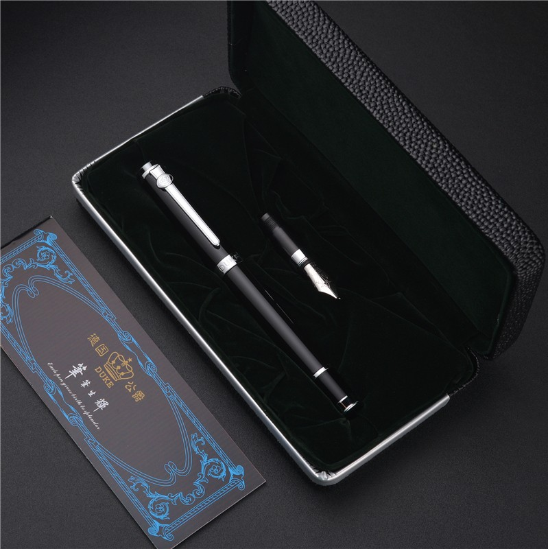 Luxury Business Gift Pen Set Duke 0.5mm Nib +1.0mm Curved Nib Fountain Pen with Original Gift Case Luxury Metal Inking Pens most popular duke confucius bent nib art fountain pen iraurita 1 2mm calligraphy pen high end business gift pens with a pen case