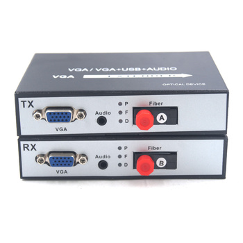 Premium VGA Extenders Transmitter and Receiver 1080P VGA over Fiber optic up 20Km with Stereo 3.5mm Audio