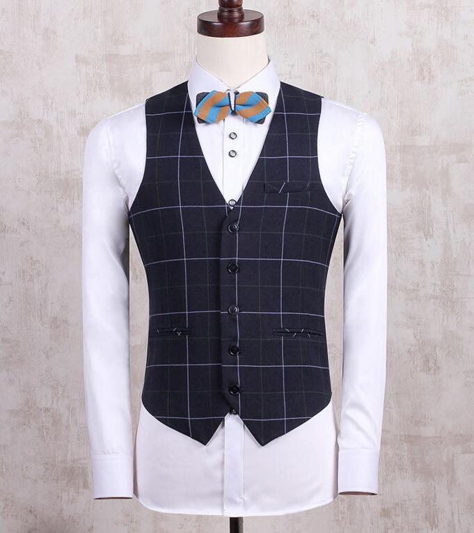 CH. KWOK printemps gilet mode col en V Chalecos bleu Royal Plaid hommes mariage marié costumes formels gilets Tweed Gliet gilet