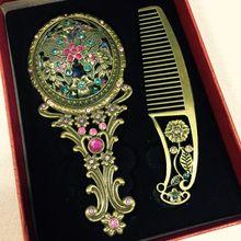 Зеркало для макияжа китайское винтажное полое резьба Стразы зеркало и Расчёска в комплекте-15