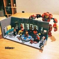 Супер Герои ЖЕЛЕЗНЫЙ ЧЕЛОВЕК подземная лабораторная база Марка доспехи 503 шт SY305 блок 76125 Marvel Мстители Бесконечность войны