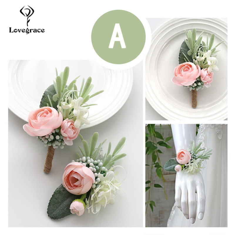Wedding Boutonnieres Wrist Corsage Bracelet Bridesmaid Flowers White Silk Roses Groom Brooch Pins Marriage Cuff Wrist Corsages
