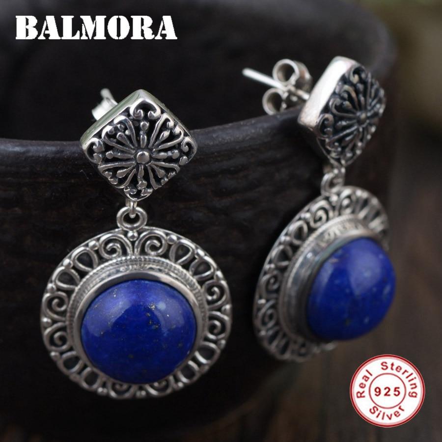 BALMORA 925 Sterling Silver Lapis Lazuli Earrings for Women Gift Thai Silver Earrings Ethnic Fashion Jewelry Brincos TRS30741