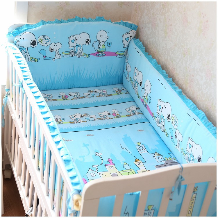 Promotion! 6PCS Baby Sets Crib Bedding Set Baby Children Children's Bed Linen (bumpers+sheet+pillow cover)