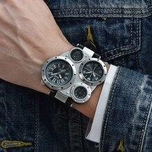 Oulm relojes deportivos para hombre, de cuarzo, de cuero PU, doble horario, con brújula decorativa, Masculino