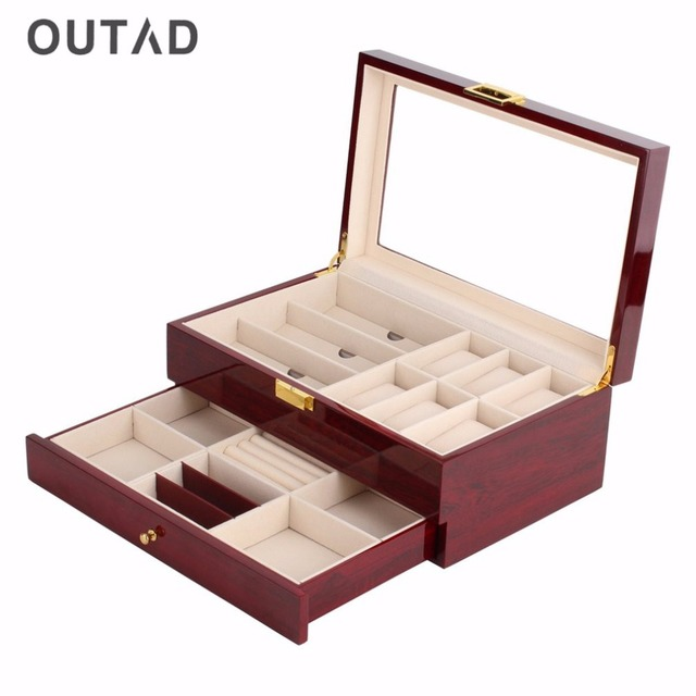 Elegant OUTAD Red Wood Watch Box Double Layers Suede Inside Paint Outside Jewelry  Storage Watch Display Slot