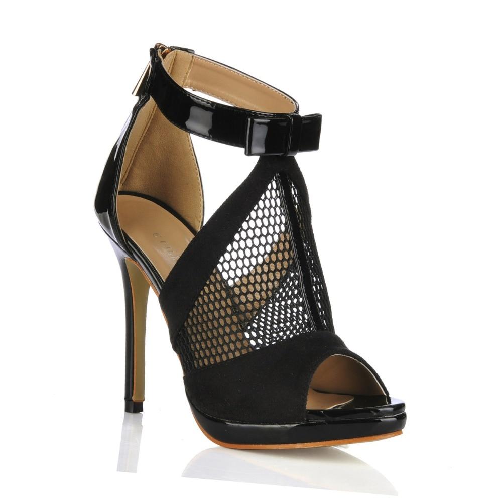 ФОТО big size black 2016 summer women cool boots fashion bowtie mesh high heels gladiator zipper sandals sexy open toe pumps shoes