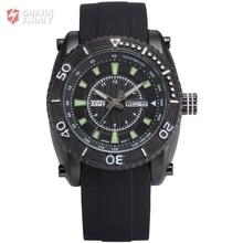 Shark Army Relogio Masculino Military Full Steel Case Date Display Black White Rubber Wristwatch Sports Quartz Men Watch /SAW161