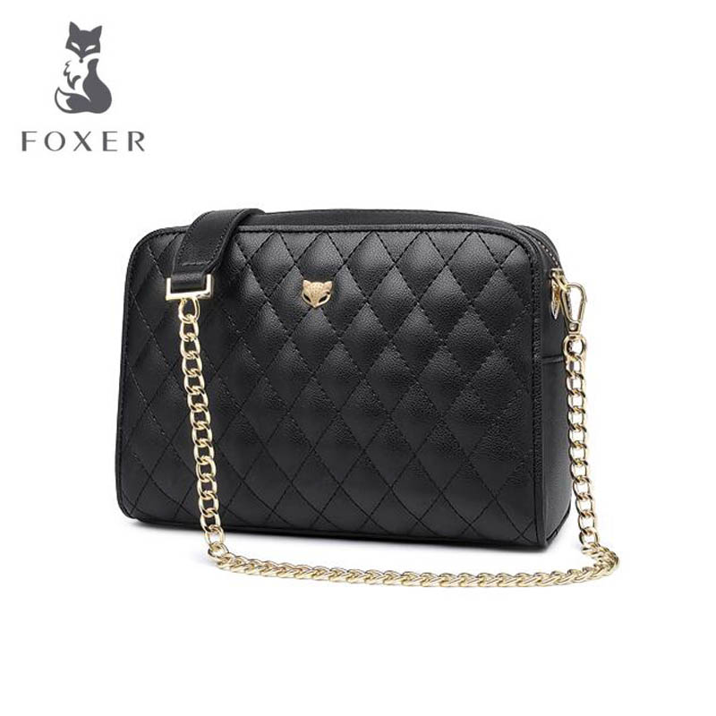 2018 New FOXER women leather bag fashion luxury Quilted chain cowhide women bags famous brand designer shoulder Crossbody bags new women leather chain small bag luxury women bags designer fashion women shoulder crossbody bags quality leather bag