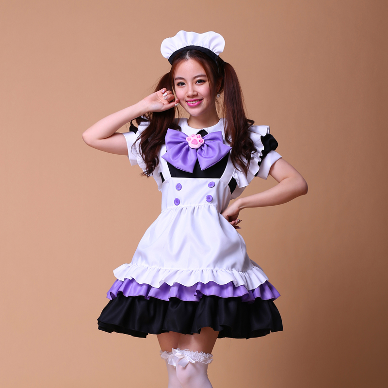 high quality Japanese purple cat claw maid costume Halloween maid Cosplay Anime performance Uniform Sweet Gothic Lolita Dress