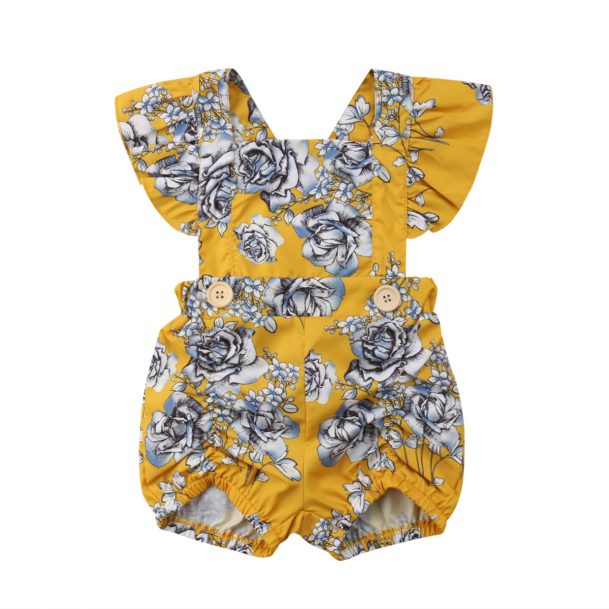 Newborn Infant Baby Girls   Romper   Fly Sleeve Bow Floral Playsuit Jumpsuit Overall Outfit Summer Cotton Clothes Baby Girl 0-24M