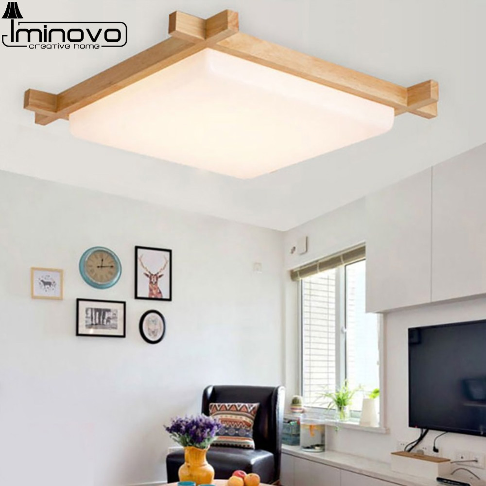 LED Ceiling Light Lamp Panel Hall Surface Mount Flush Modern Wooden Square Lighting Fixture Bedroom Living Room Remote Control lan mu led ceiling lamp octopus light
