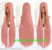 Wholesale heat resistant LY free shipping New wig Heat Resistant COSPLAY PARTY LONG STRAIGHT SMOKE PINK