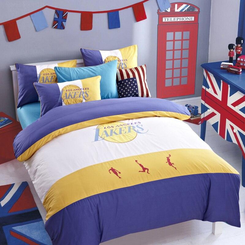 Designer sports basketball bedding set los angeles lakers - Bedroom furniture sets los angeles ...