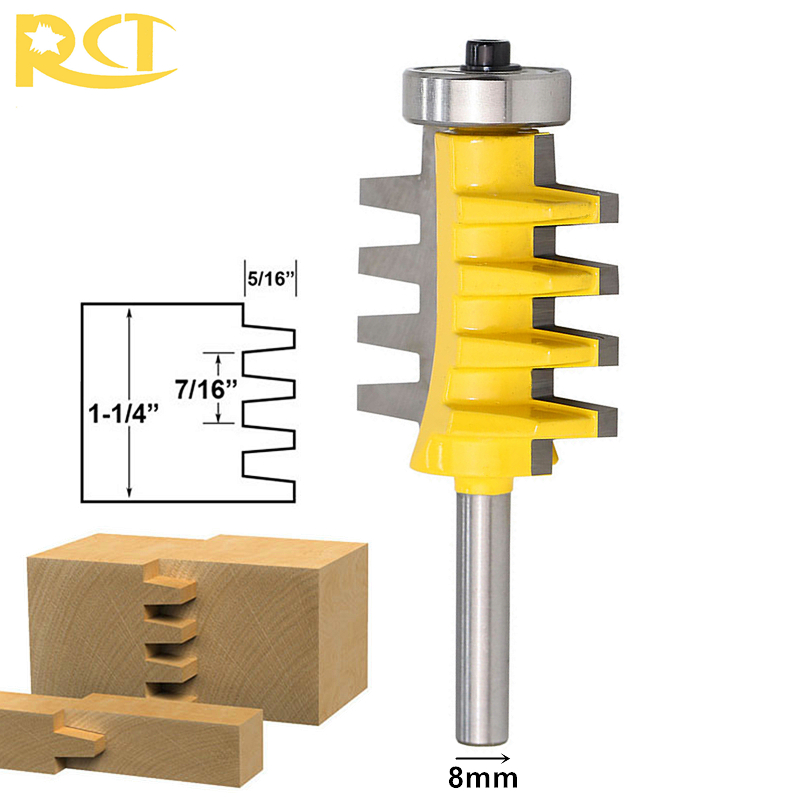 RCT 8mm Shank Rail Reversible Finger Joint Glue Router Bit Cone Tenon Milling Cutters For Carpenter Woodworking Tools