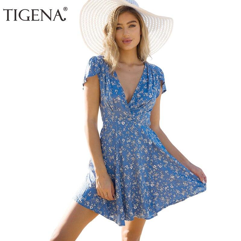 TIGENA Floral abrigo del v-cuello verano mujeres vestido 2018 verano Sundress túnica playa Vestido corto Sexy Robe Femme