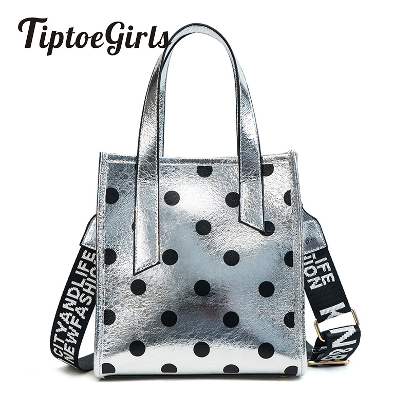 Fashion Simple Casual Bag Female Personality Wide Shoulder Strap Polka Dot Handbag Wild Shoulder Messenger Bag