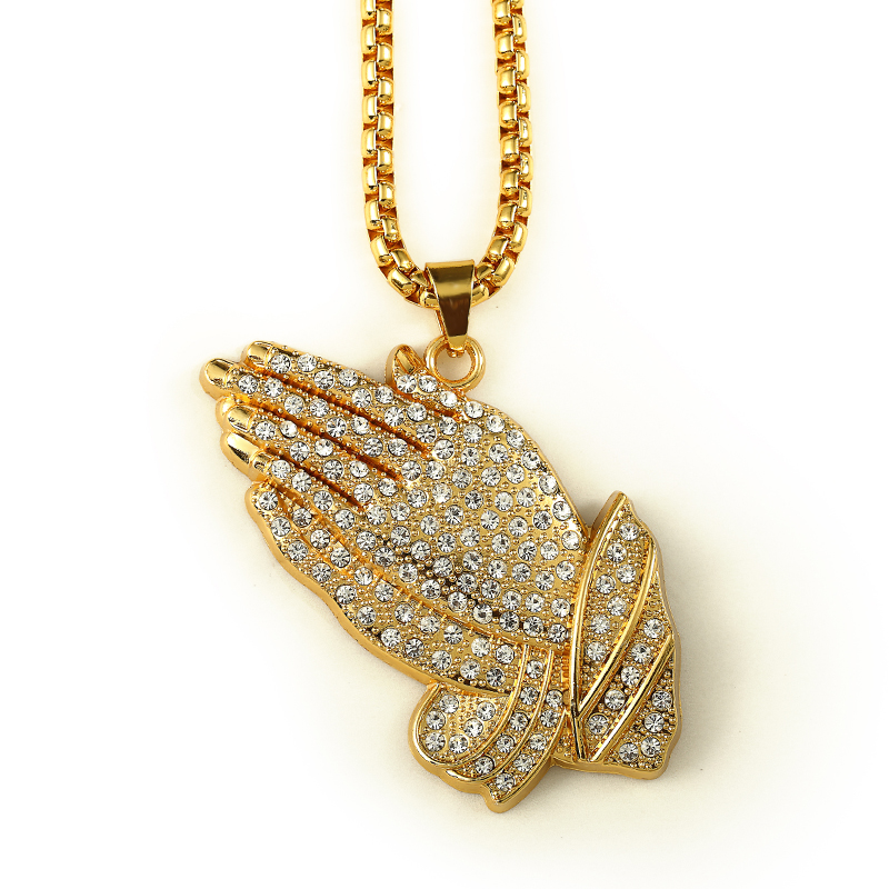 Hip Hop Iced Out Cz Praying Hands Gold Plate Box Chain