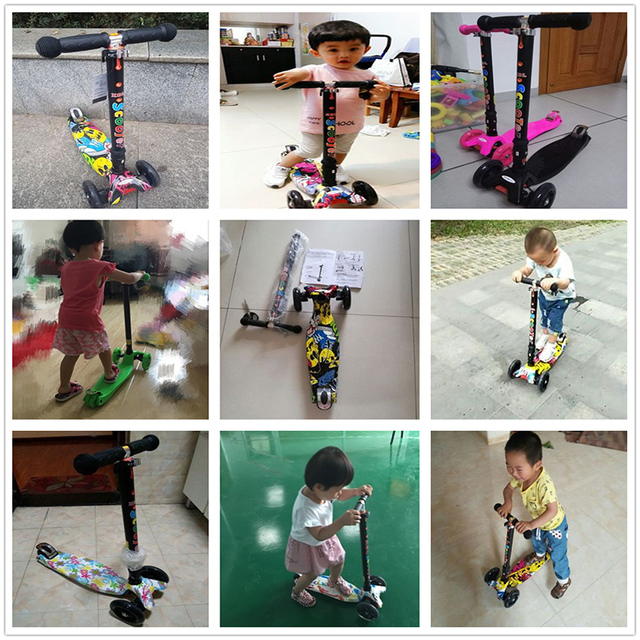 Infant Shining Scooter children to the 2-3-6-10 years old children three round folding scooters flash slide block toys