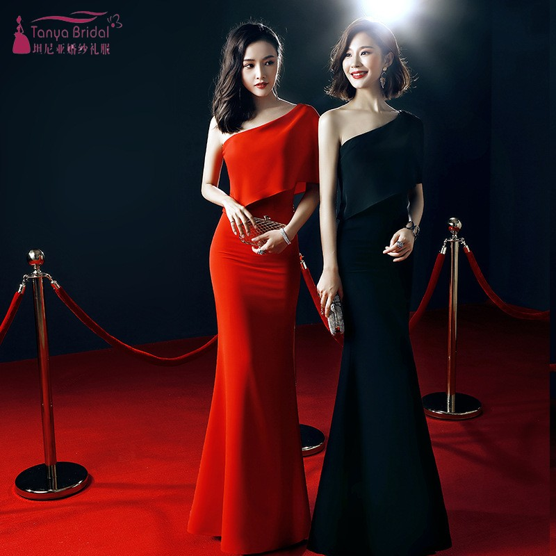 One Shoulder Long Mermaid   Bridesmaid     Dresses   White Red Black Wedding Guest Party   Dress   Formal Gown Prom For Weddings JQ66