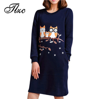 TLZC Korean Style Lady Cotton Dress Owl Pattern Long Sleeve Dress Large Size M 4XL Women