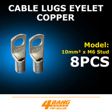 8pcs 10-6 Automotive Copper Cable Lugs Ring Battery Terminal Connector Wire Gauge Welding