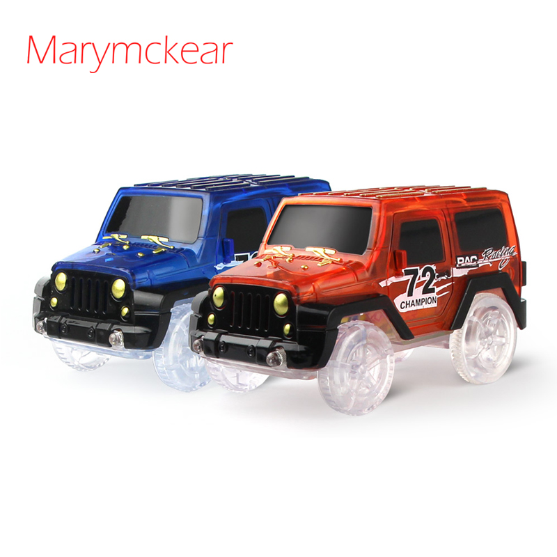1 Pcs Noctilucent Track Car Mini Car Boys Toy Racing Car With LED Light Glow In The Dark Vehicle Rail Racing In Blue/ Red