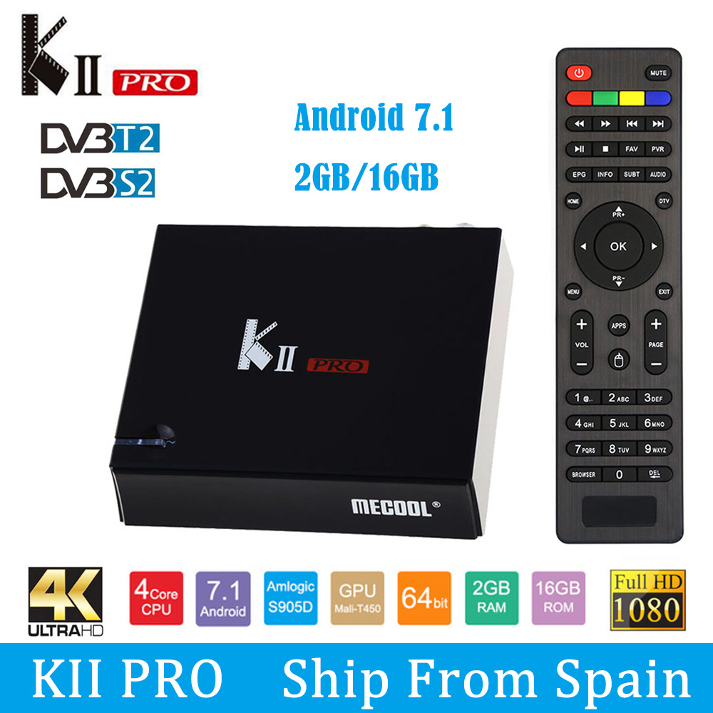 SATXTREM MECOOL KII Pro TV Box Android 7.1 DVB-S2 DVB-T2 S905D Quad-core 2GB 16GB Smart Tv Box 4K Dual WiFi BT4.0 Media Player цена