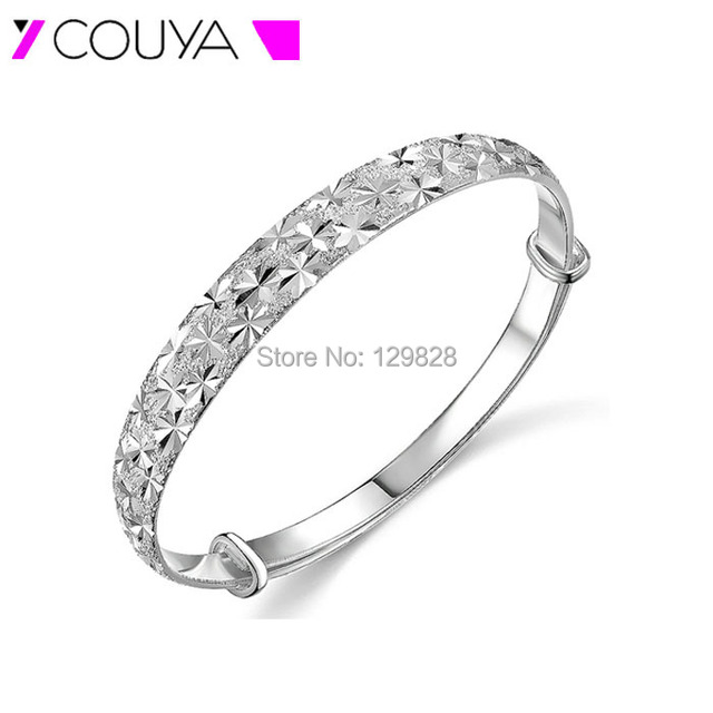 Fine 999 Silver Adjustable Size Bangle Bracelets for Women Girl Lady Valentines' Day Gift in Jewelry 2016 Carve Patterns Design