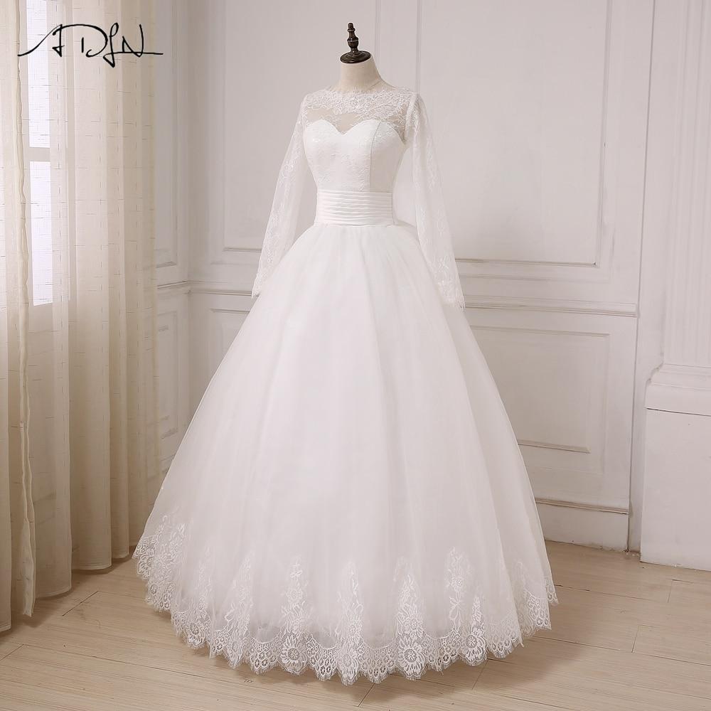 ADLN A-line Bröllopsklänning Långärmade Tulle Golvlängd Arabiska - Bröllopsklänningar - Foto 3