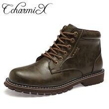 9a6753f5 CcharmiX caliente de los hombres de invierno botas de piel zapatos de  tobillo de cuero botas hombres otoño impermeable botas de .