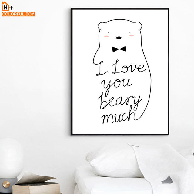 Colorfulboy Bear Love Quotes Line Drawing Wall Art Print Canvas