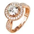 EDI Halo Laboratorio Crecido Anillo de Diamante Único 14 k 585 de Oro Rosa 0.5CT Corte Redondo Anillo de Diamante de Moissanite Para Las Mujeres Joyería de La Boda Regalos