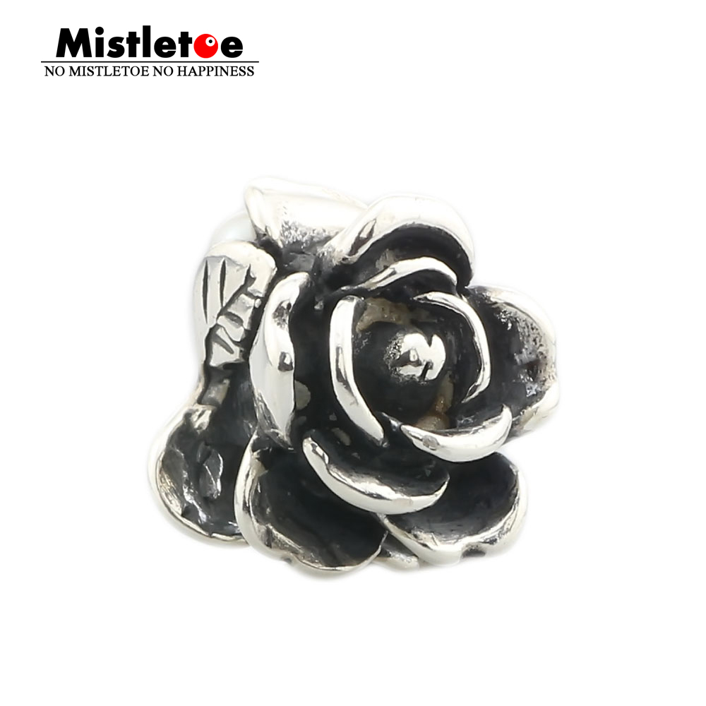 Mistletoe Jewelry Genuine 925 Sterling Silver Rose of June With White Pearl Charms Beads Fit European Troll 3.0mm Bracelet(China)